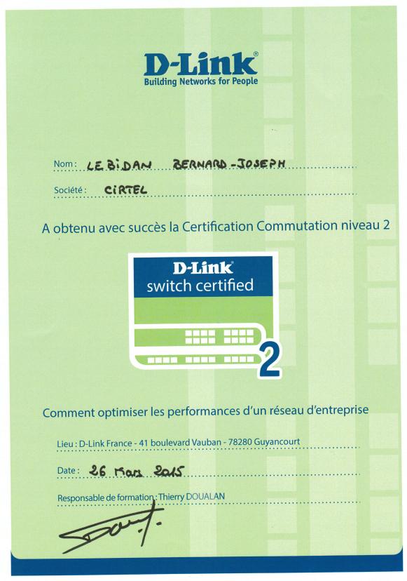 DLINK Switch 2 Certificat Bernard-Joseph LEBIDAN