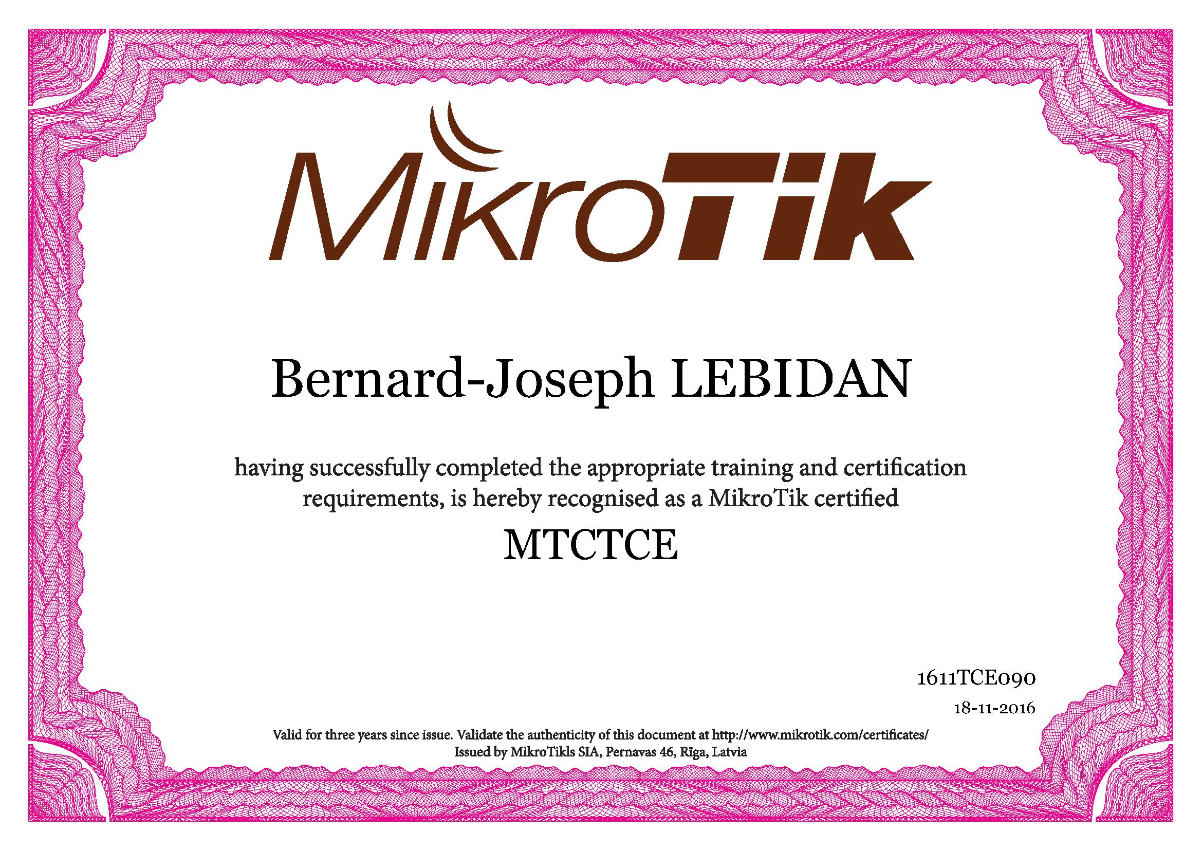 MTCTCE Certificat Bernard-Joseph LEBIDAN